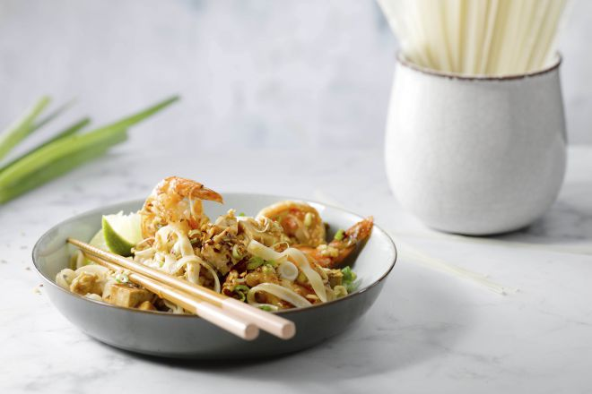 Pad Thai met scampi's en tofu